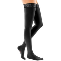 Mediven Comfort 15-20 mmHg Thigh High w/ Lace Silicone Top Band, Ebony