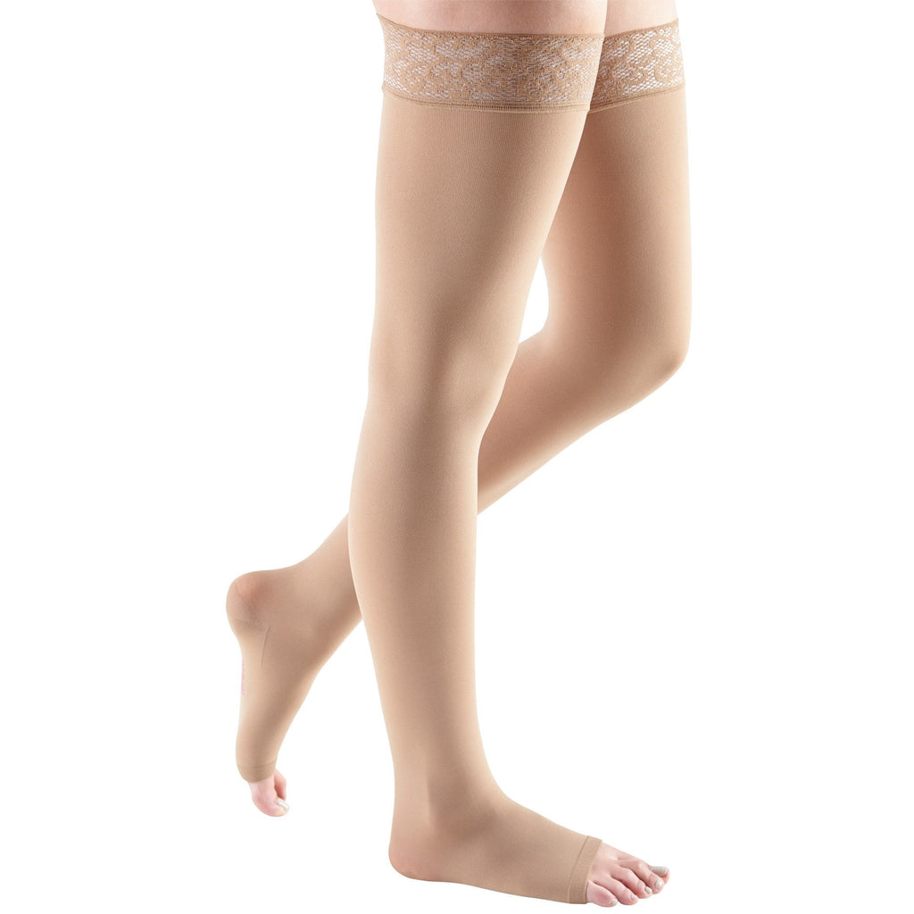 Mediven Comfort 20-30 mmHg OPEN TOE Thigh High w/ Lace Silicone Top Band, Natural