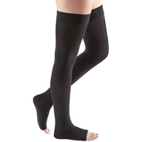 Mediven Comfort 15-20 mmHg OPEN TOE Thigh High w/ Beaded Silicone Top Band, Ebony]