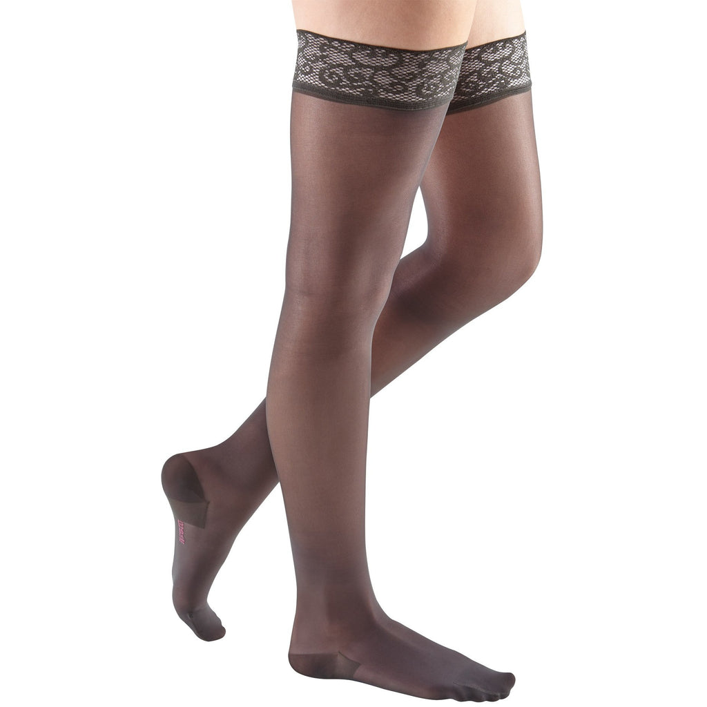 Mediven Sheer & Soft Women's 30-40 mmHg Thigh High, Charcoal