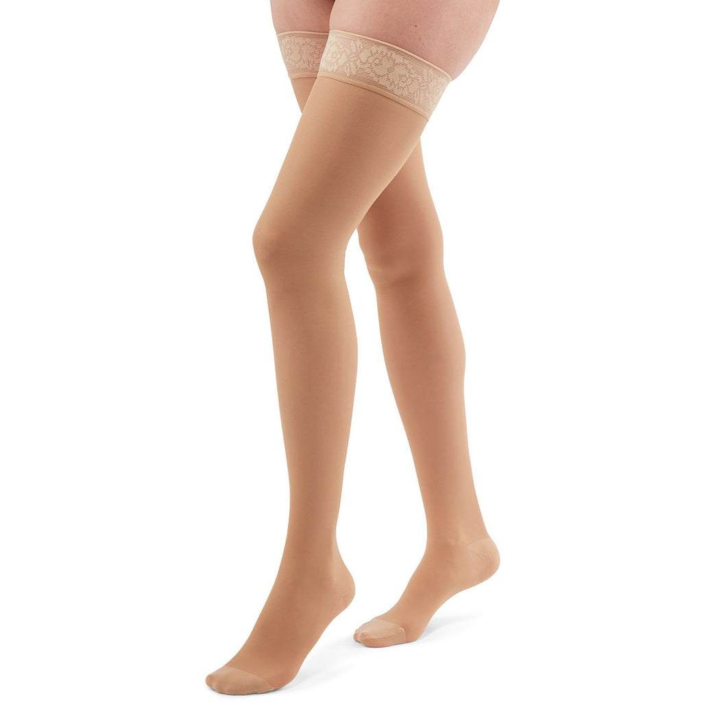 Duomed Transparent Women's 15-20 mmHg Thigh High, Nude