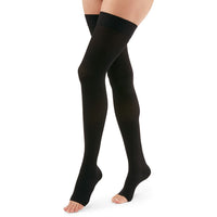 Duomed Advantage 30-40 mmHg OPEN TOE Thigh High, Black