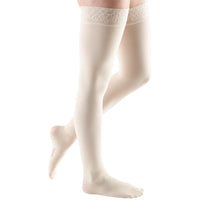 Mediven Comfort 30-40 mmHg Thigh High w/ Lace Silicone Top Band, Wheat