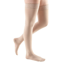 Mediven Comfort 30-40 mmHg Thigh High w/ Lace Silicone Top Band, Sandstone