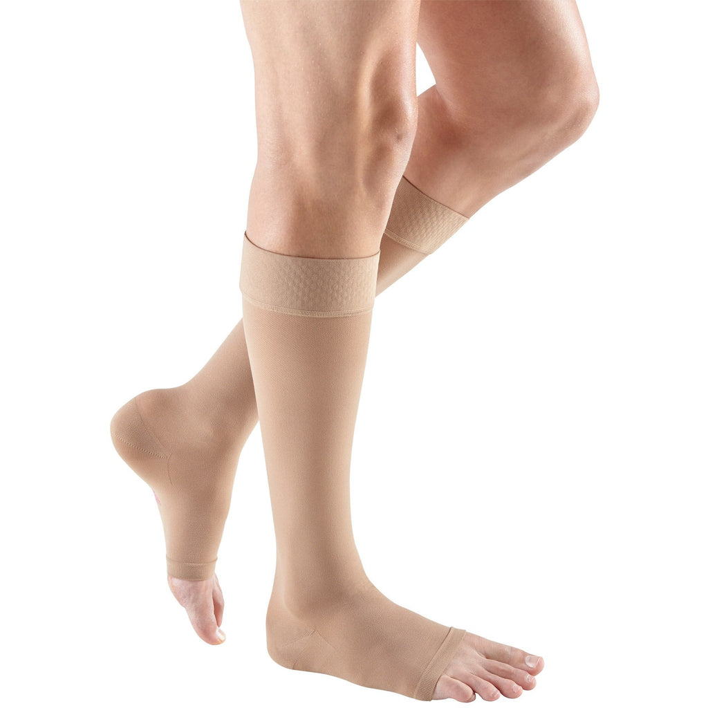 Mediven Plus 20-30 mmHg OPEN TOE Knee High w/ Silicone Top Band, Beige