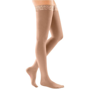 Mediven Comfort 15-20 mmHg Thigh High w/ Lace Silicone Top Band, Natural
