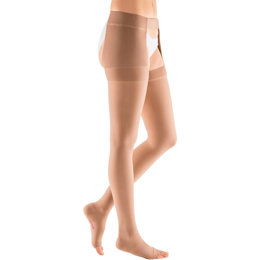 Mediven Plus 20-30 mmHg OPEN TOE Thigh High w/ Waist Attachment, Beige