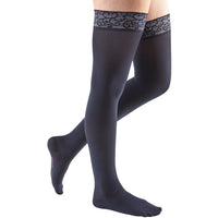Mediven Comfort 30-40 mmHg Thigh High w/ Lace Silicone Top Band, Navy