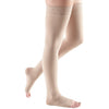 Mediven Comfort 15-20 mmHg OPEN TOE Thigh High w/ Lace Silicone Top Band, Sandstone