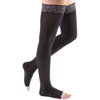 Mediven Comfort 15-20 mmHg OPEN TOE Thigh High w/ Lace Silicone Top Band, Ebony