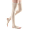 Mediven Comfort 15-20 mmHg OPEN TOE Thigh High w/ Lace Silicone Top Band, Wheat