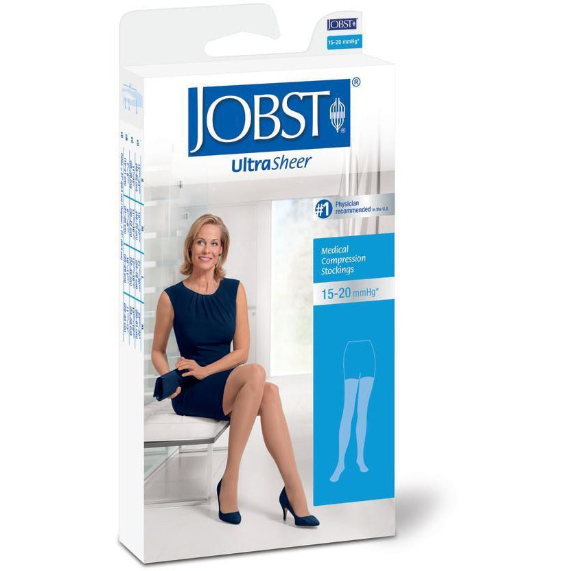 Jobst UltraSheer Women's 15-20 mmHg Thigh High w/ Lace Silicone Top Band