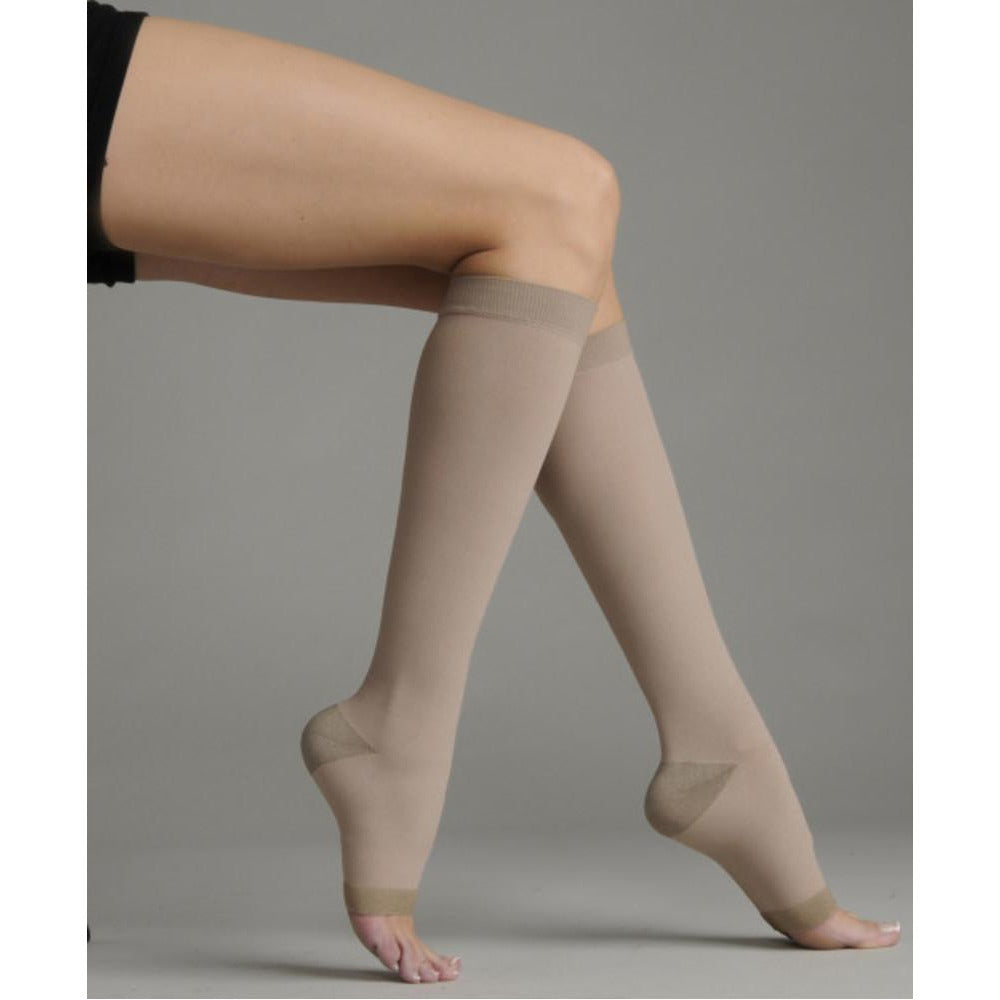 Juzo Soft Silver 30-40 mmHg OPEN TOE Knee High w/ Silicone Top Band