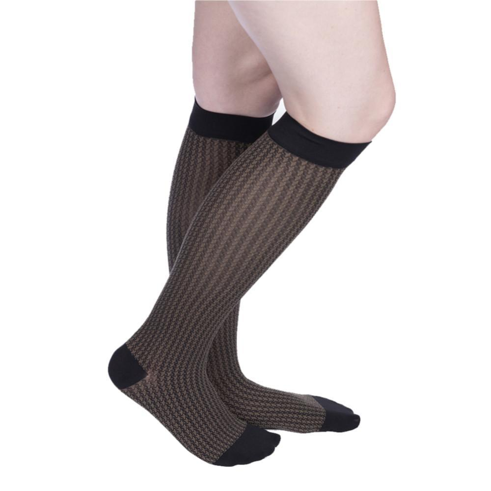 VenaCouture Women's Sheer Designs Houndstooth 15-20 mmHg Compression Sock