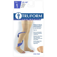 Truform 20-30 mmHg OPEN-TOE Thigh High W/ Silicone Dot