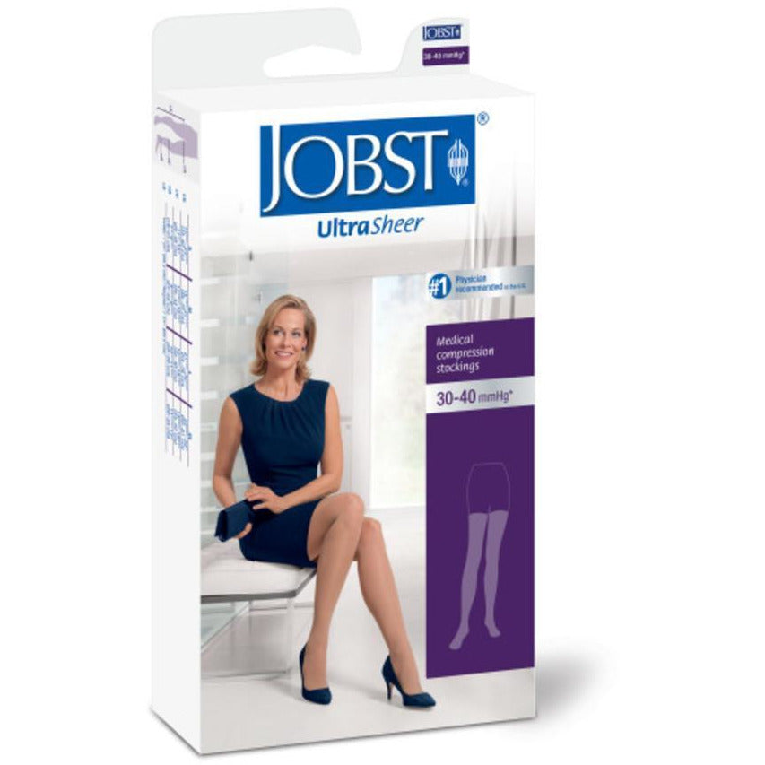 Jobst UltraSheer Women's 30-40 mmHg Thigh High w/ Lace Silicone Top Band