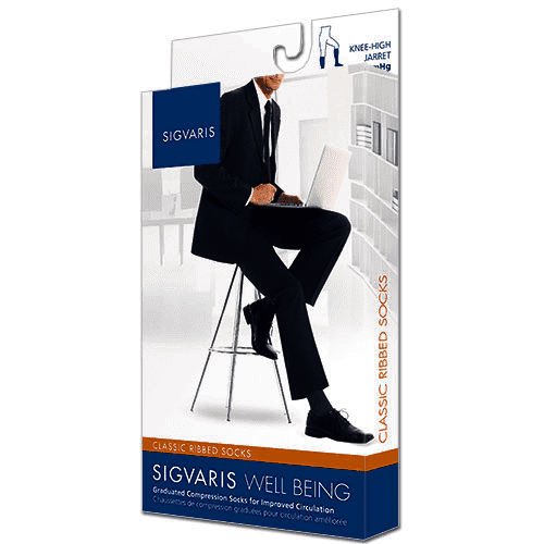 Sigvaris 180C Classic Ribbed Men's 15-20 mmHg Knee High