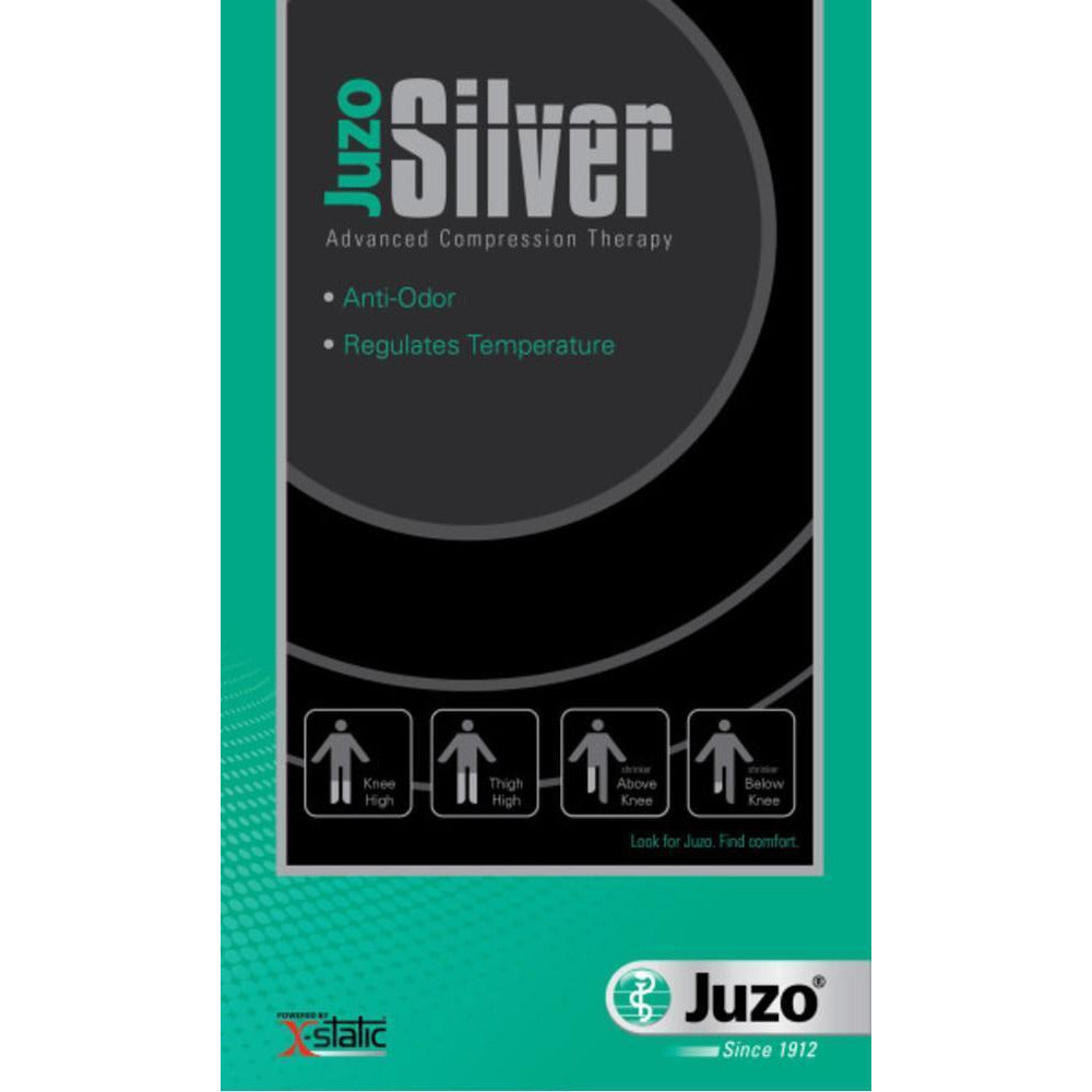 Juzo Soft Silver 20-30 mmHg OPEN TOE Thigh High w/ Silicone Top Band