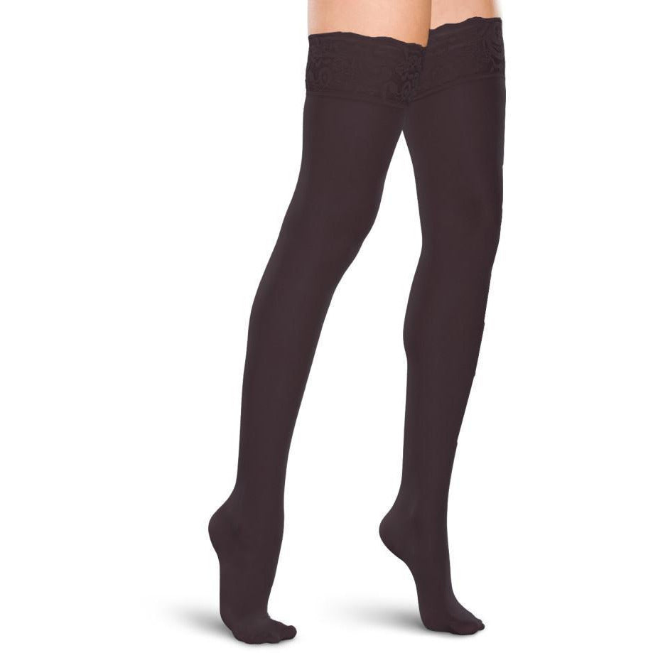 Therafirm Sheer Women's 15-20 mmHg Thigh High w/ Lace Silicone Top Band