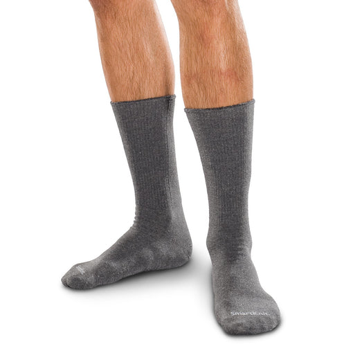 SmartKnit Seamless Diabetic Crew Socks, Charcoal