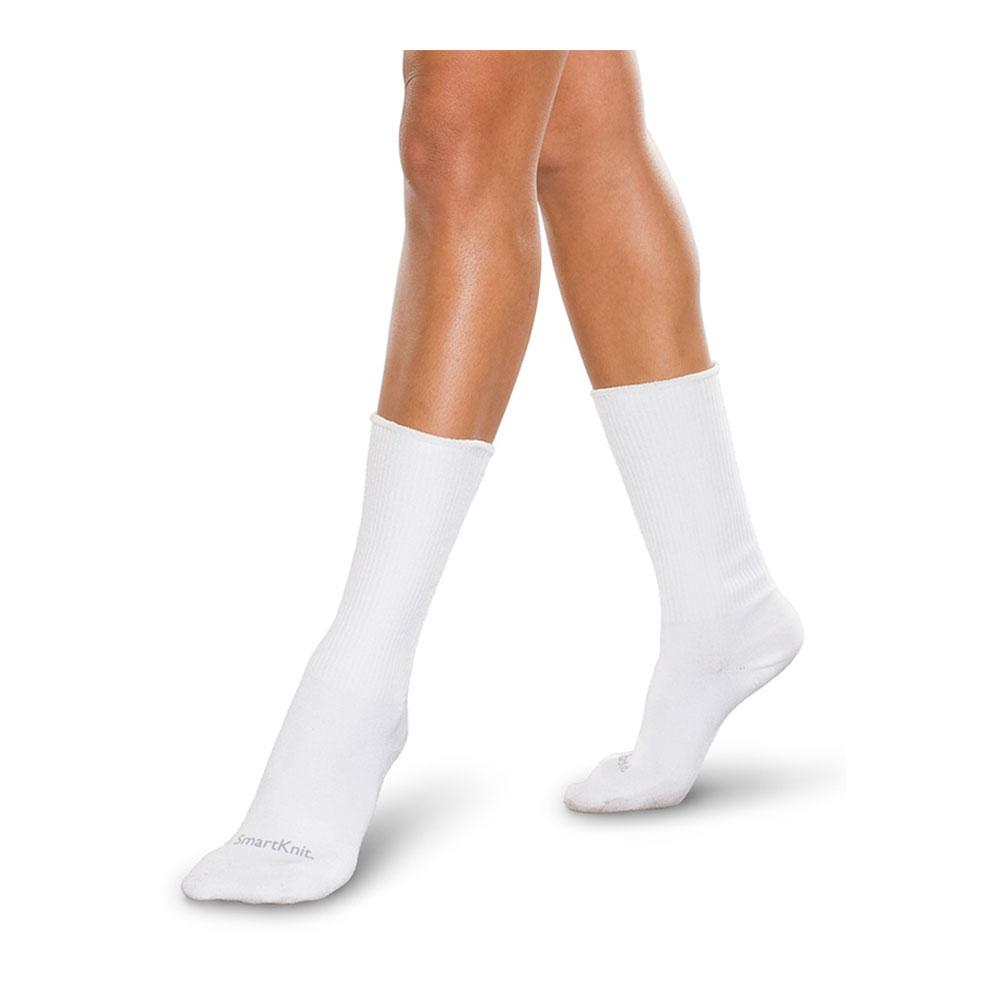 SmartKnit Seamless Diabetic Crew Socks - White, SM