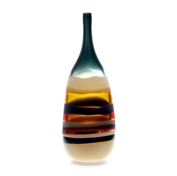 10 Banded Amber Tall Bottle