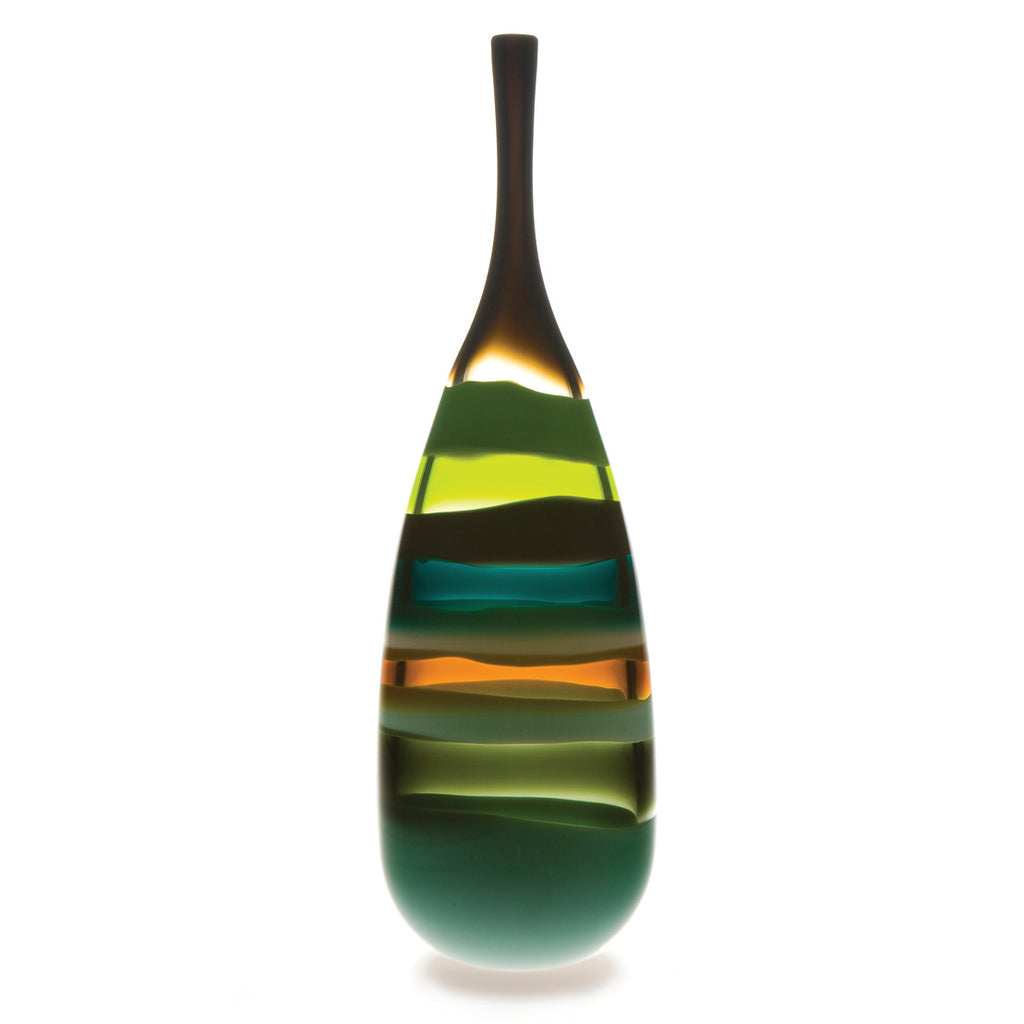 Modern art vase, blown glass by siemon & salazar