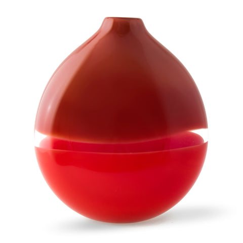 Siemon & Salazar Two-Tone Red Flat Round Vase, home decor, made in the u.s.a.