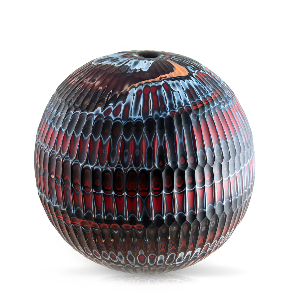 Caleb Siemon Mokume Battuto Carved Hand Blown Glass Vase