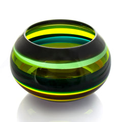 Green Glass Bowl - Banded Series by Siemon & Salazar