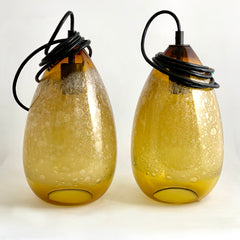 Pair of Amber Cone Bubble Pendants (Qty 2)