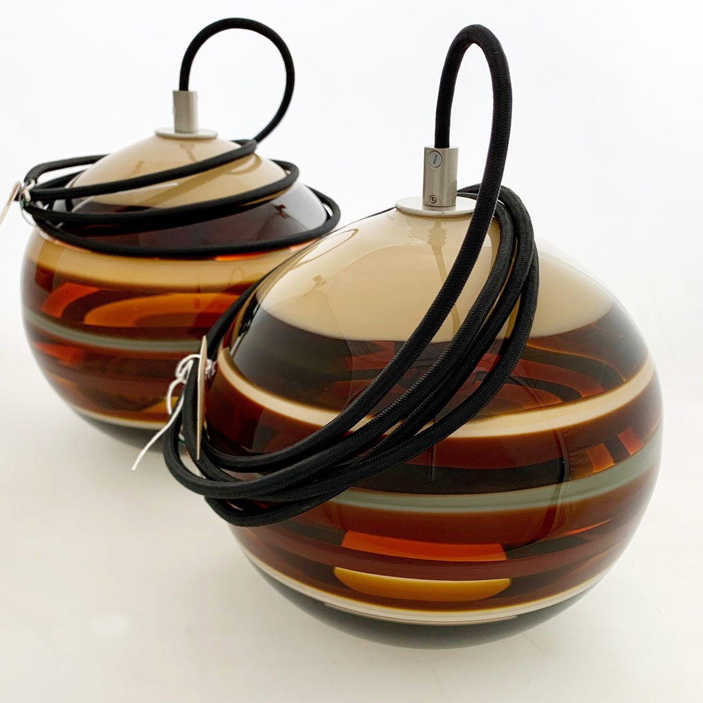 Pair of Amber Banded Orb Pendants (Qty 2)