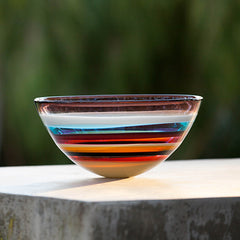10 Banded Cranberry Closed Bowl