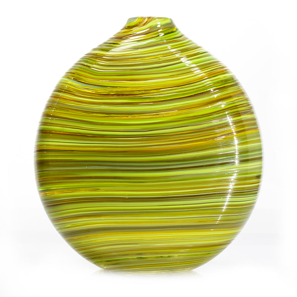 Siemon & Salazar hand blown glass green swirl vase, mid-century interior design, home decor, made in the U.S.