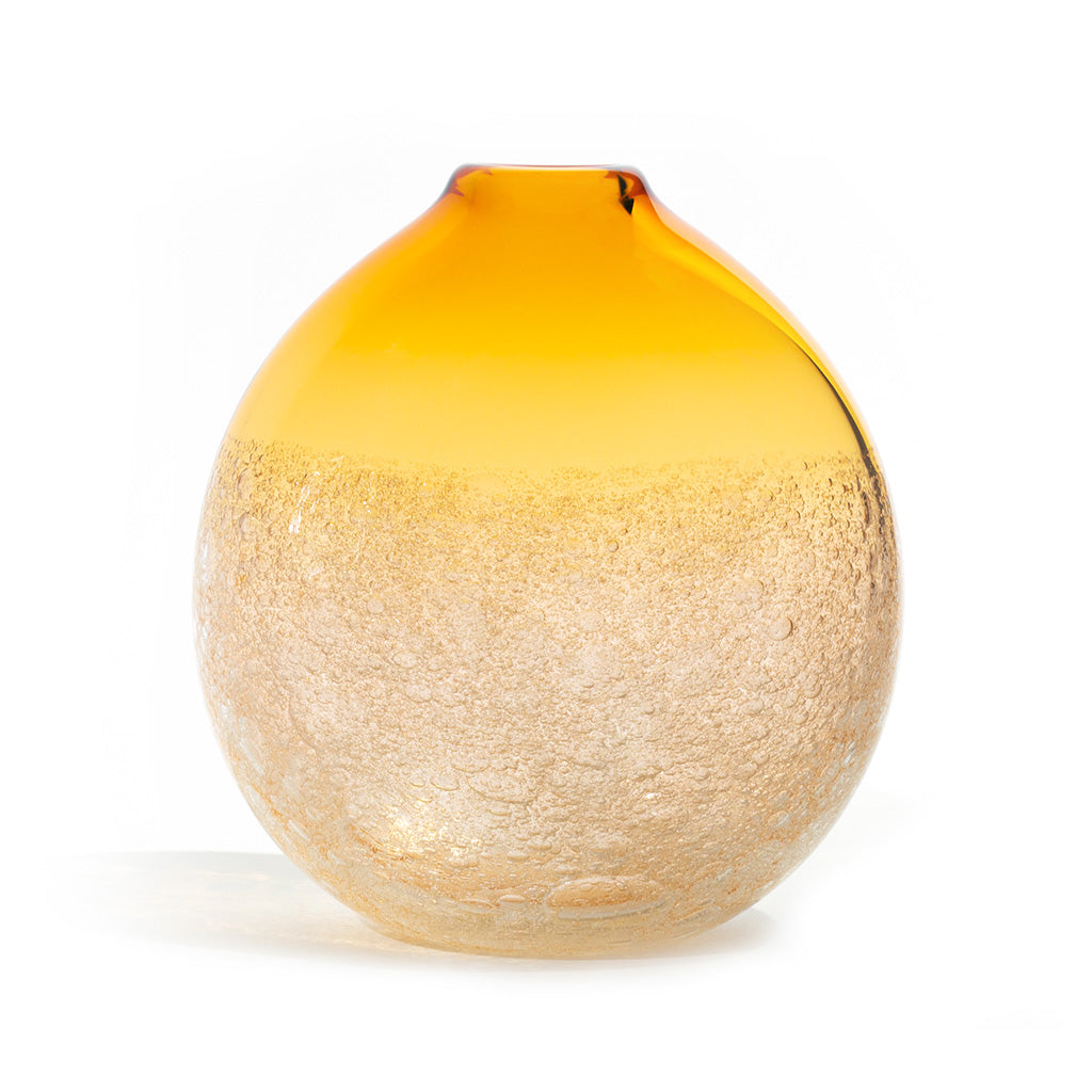 Caleb Siemon, Siemon & Salazar, hand-blown glass, amber flat round bubble bud, made in the USA