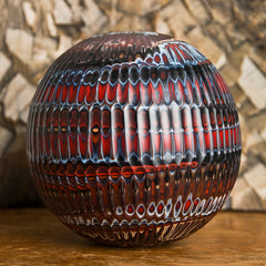 Caleb Siemon Carved Glass Vase, Mokume Battuto