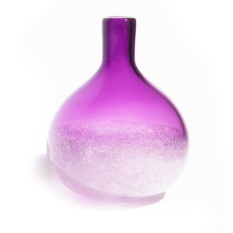 Siemon and Salazar amethyst bubble bud vase, hand blown glass, made in the U.S.A.