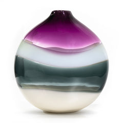 Modern blown glass vase, amethyst flat round