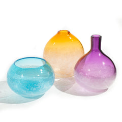 Artisan Blown Glass Bubble Vase, Contemporary Glassblowing Design Studio