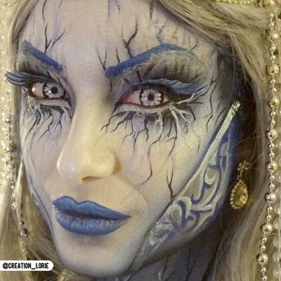 PRIMAL® White Walker color white and black Halloween Costume Contact Lenses-make up