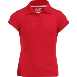 Girls short sleeve Austin Trading Co. pique polo w/GDA logo - Red
