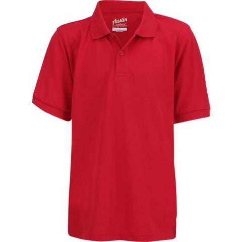 Boys short sleeve Austin Trading Co. pique polo w/GDA logo - Red