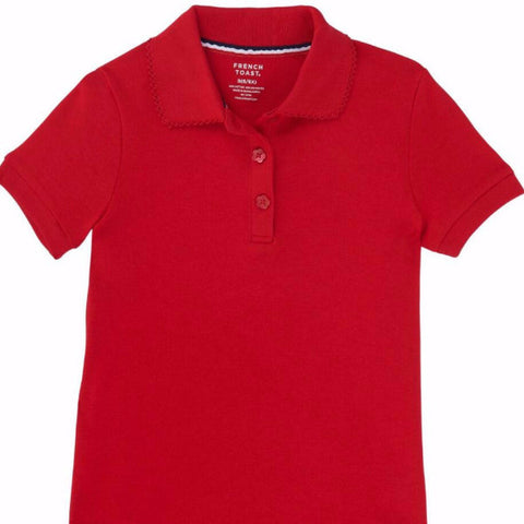 Toddler girls French Toast interlock knit polo picot collar w/GDA logo - Red