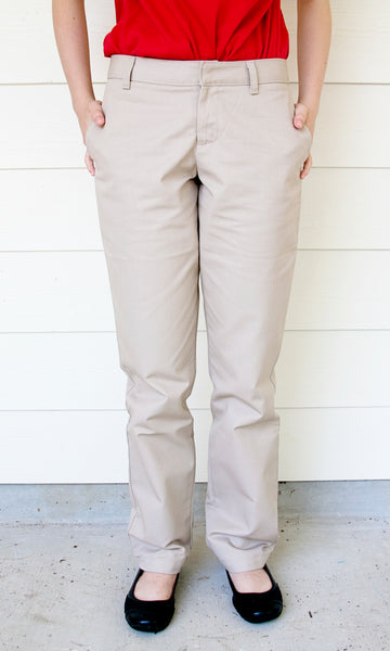 GIRLS/JUNIORS Flat Front Pant (Khaki)