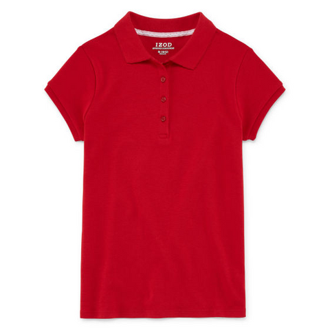 Girls short sleeve Izod knit polo w/GDA logo - Red