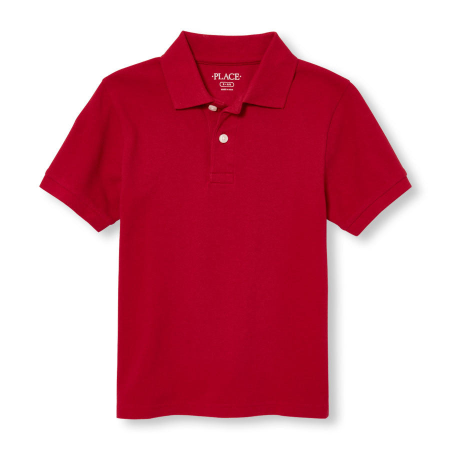 Boys S/S The Children's Place solid pique polo w/GDA logo - Red