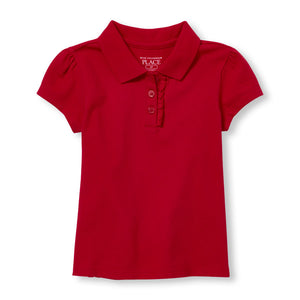 Toddler girls S/S The Children's Place Ruffle Placket Pique w/GDA logo - Red