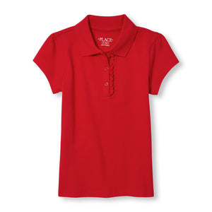 Girls S/S The Children's Place ruffle-placket polo w/GDA logo - Red