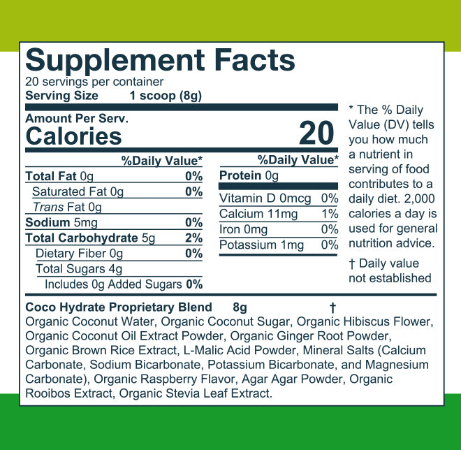 Coco Hydrate nutrition label