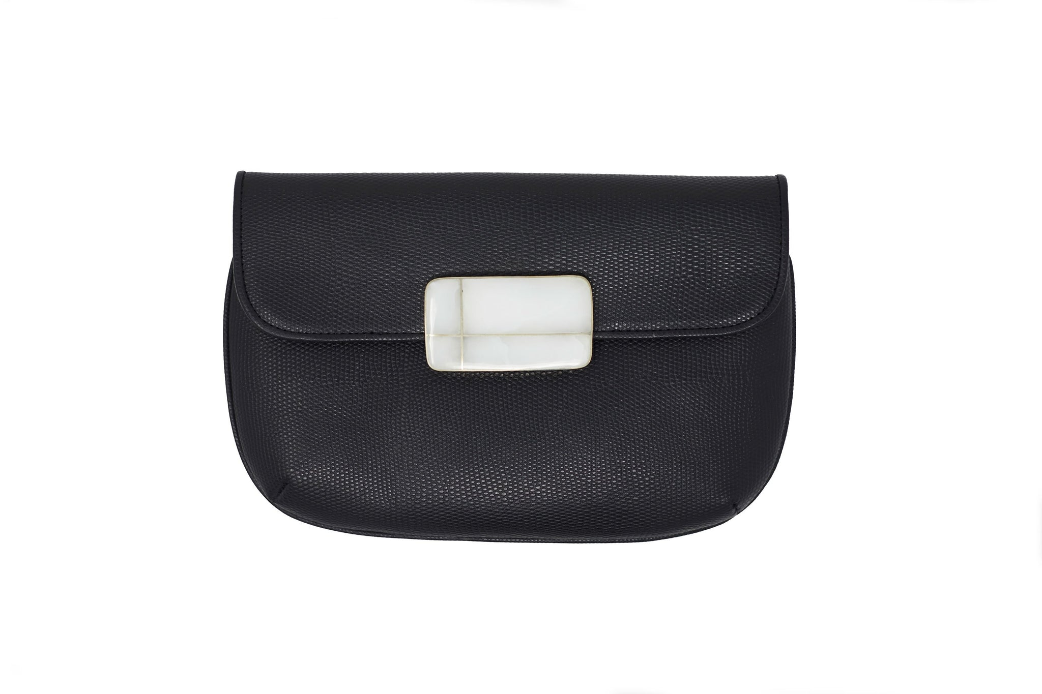 Black Nite Leather Clutch Wristlet - Lesetta